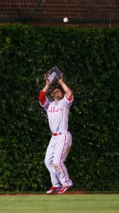 Victorino catches some beer as well as the ball.