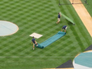 I don't know what it is about ground crews but I love watching them clear the field after batting practice.