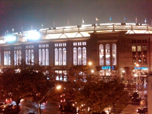 Yankee Stadium from the subway platform after Game 6 was called due to Mother Nature.
